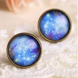Shiny Blue Sky Abstract Earrings