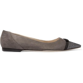 Jimmy Choo - Dorothy glittered suede point-toe flats