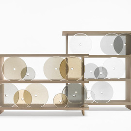Nendo - Rotating Glass Discs Shelving Unit