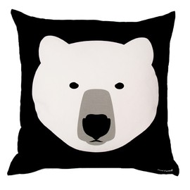 White Bear Black Bear Cushion - Front