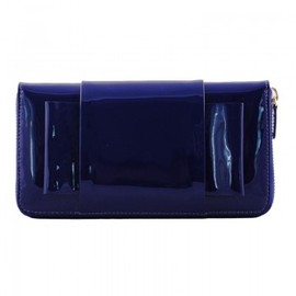 AVRIL GAU - Large saphir patent leather wallet FLAT BOW