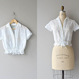 Espiritu blouse | vintage 1950s blouse • white cotton 50s blouse