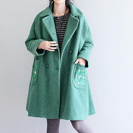 wool Overcoat - Leisure large size wool coat Green double breasted wool Overcoat