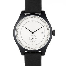 Minuteman Watch, Two Hand, Black with Black Leather Strap