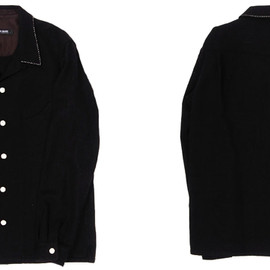 RUDE GALLERY - OPEN COLLAR WOOL SHIRTS (AMF STITCHED)(BLK)