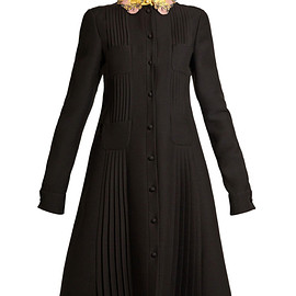VALENTINO - Embellished-collar four-pocket crepe dress