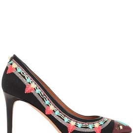 VALENTINO - SS2014 80MM KILIM CANVAS EMBROIDERED PUMPS