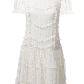 RED VALENTINO - sheer ruffled dress