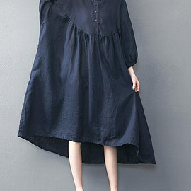 dresses - Dark blue oversized loose long dress red large size dresses