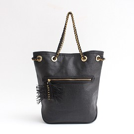 PASS THE BATON - Cotton×PVC Chain Bag BLK