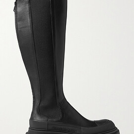 Alexander McQueen - Leather exaggerated-sole knee boots