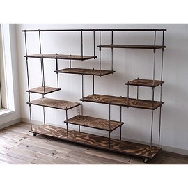 wood iron shelf L
