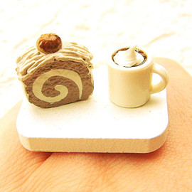 SouZouCreations - Coffee Ring  Miniature Food Jewelry Coffee Chestnut Roll Cake