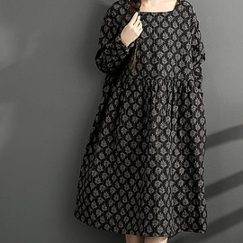 dresses - Cotton and linen loose long dress printed large size long winter bottoming dress linen dresses