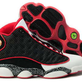 Michael Jordan Retto 13 Print Shoes with Red & White - Black Style