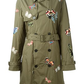 VALENTINO - Military green cotton stitched butterfly trench coat