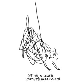 Gemma Correll - Cat on a Leash Art Print