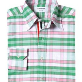 THOM BROWNE - CLASSIC LS PC SHIRT W/RWB GG PLACKET IN OXFORD SUPER LARGE PLAID W/4-BAR IN PINK/GREEN