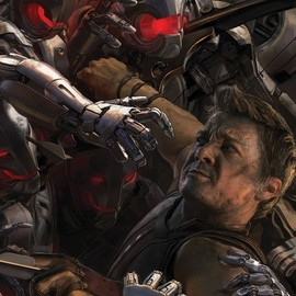 "Hawkeye in Marvel's ""Avengers: Age of Ultron,"" concept art poster"