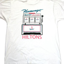VINTAGE - Vintage 80s Hiltons Flamingo Slot Machine Shirt Mens Size Medium