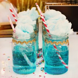 Blue Sprite in Mason Jars topped with Fluffy Cotton Candy ;)