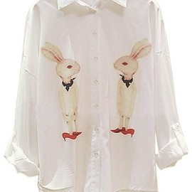 miss lny - Red Shoe Rabbit Shirt