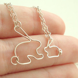 MisoPretty - Mother daughter bunny rabbit necklace set
