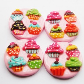 "Luulla - Sweet cupcake - 4 polymer clay buttons ( 1.25"")"