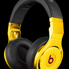 Beats By Dr. Dre, CRYSTAL ROCKED - Pro Headphones 24 Karats Gold Plated Edition