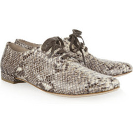 miu miu - Python-effect patent-leather brogues