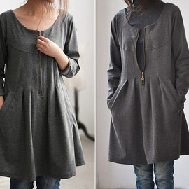 etsy - cotton pleated knee length Bottoming shirt In gray
