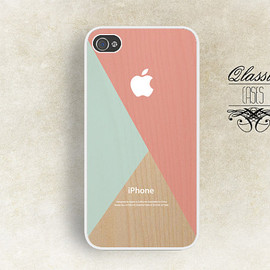 Etsy - iPhone 5 Hard Case Wood Print Wood Geometrical  Phone Case iPhone 4/4s