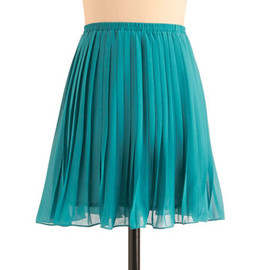 As You Swish Skirt in Teal - Short, Blue, Solid, Pleats, Party