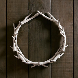 "Restoration Hardware - Weathered Antler Wreath 30"" - White"