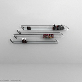 ClarkeHopkinsClarke Architects  - optical illusion bookshelf
