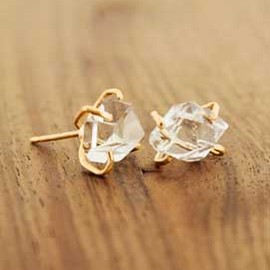 Melissa Joy Manning - Herkimer diamond stud earrings-14 karat gold