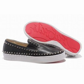 Christian Louboutin Pik Boat Mens Flat Sneakers Black White