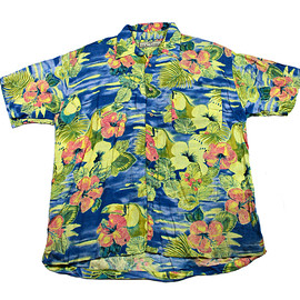 VINTAGE - Vintage 90s Blue/Yellow Toucan Hawaiian Shirt Mens Size Large