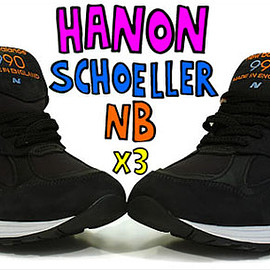 New Balance, Hanon, Schoeller - M990HSN - Black/Safety Orange/Gold