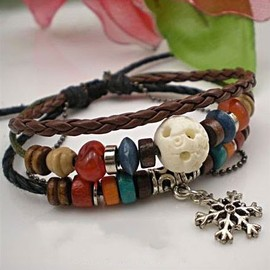 alanatt - Handmade Leather Bracelet- Ox Bone Caved Bead