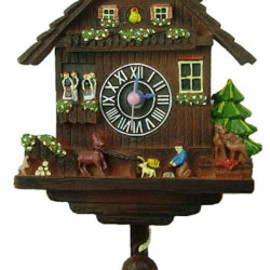 Clock of lodge in Alps brown