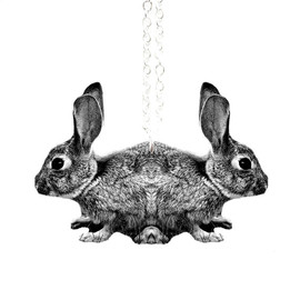"TillyBloom - Siamese Spring Rabbit Necklace in Black and White -  Illustration Jewelry - Silver 18"" Chain"