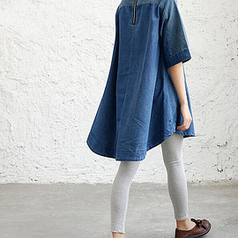 shirts - women oversize Cowboy shirt Asymmetric cowboy Long Shirt