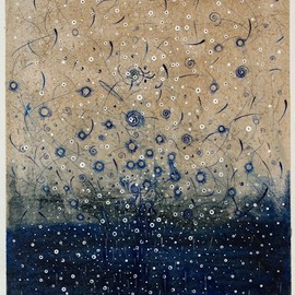 林孝彦 - D-25.Jan.2013 Emittung Blue  42x28cm  pen drawing on Gampi  林孝彦 HAYASHI Takahiko 2013
