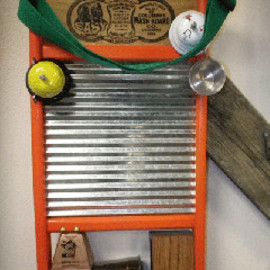COLUMBUS WASHBOARD - Uncle Willie's Family Size Musical Washboard ORANGE