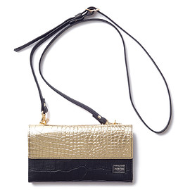 "HEAD PORTER - ""CROCO"" SHOULDER POUCH BLACK/GOLD"