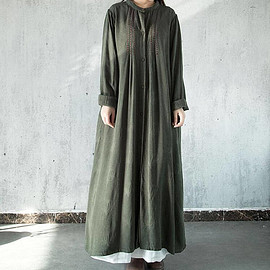 green long Dresses loose cotton and linen single breasted Dresses
