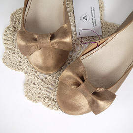 elehandmade - Bronze Metallic Leather Handmade Ballet Flats