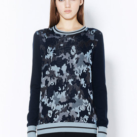 3.1 Phillip Lim - LONG SLEEVE PULLOVER WITH STRIPED RIB