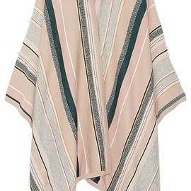 Maiyet - Leather-trimmed striped cashmere-blend cape